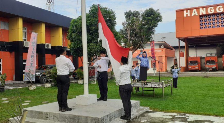Upacara HUT Kemerdekaan RI Ke-74 di Kantor BPBD Provsu Berlangsung Hikmat