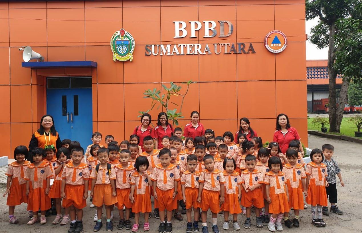 Fieldtrip ke BPBD Provsu, Siswa TK Methodist 6 Medan Diajarkan Mitigasi Bencana