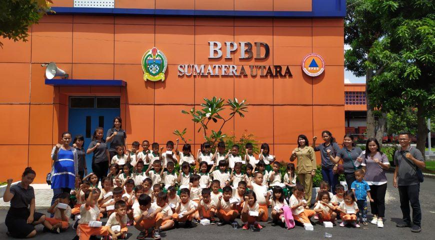 BPBD Provsu Beri Pengenalan Dasar Mitigasi Bencana ke Siswa PAUD dan SD Sunrise Kids