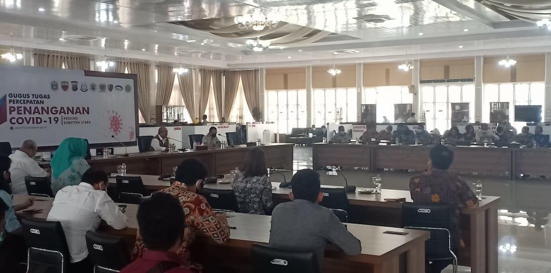 BPBD Provsu Fasilitasi BNPB Rapat Koordinasi Pencegahan Covid-19 Bersama Sejumlah Camat
